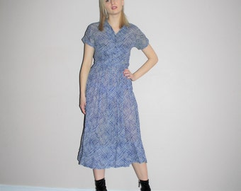 1940s Blue Graphic Print Sheer Bombshell Dress - 40s Vintage Sheer Abstract Dress - W00461
