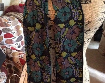 Vintage 1970s Leggings Footless Tights Shortie Style Floral Print Purple Mauve Black Aqua Gold Deadstock/Never Worn