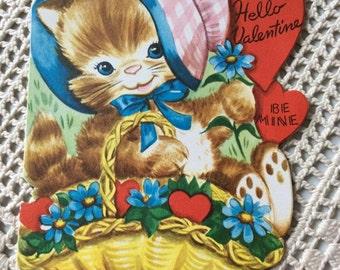 Vintage 1940s 1950s Valentine Card Kitty Cat Collectible Paper Ephemera Art Craft Scrap Book Supply