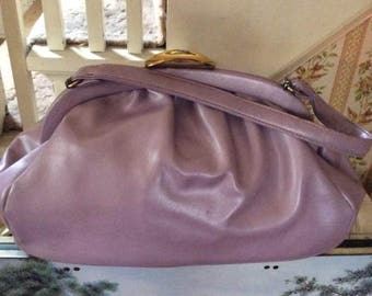 Vintage 1950s 1960s Handbag Purse Lavender Light Purple Soft Vinyl Gingham Check Fabric Lining