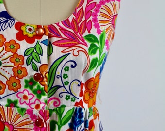 Vintage 1960s Dress / 60s Dress / Cotton Dress / Maxi Dress Mod Dress Floral Hippie Daisy Psychedelic 1970s Dress 70s Dress