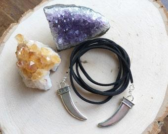 Metal spike choker tie necklace, silver spike choker necklace