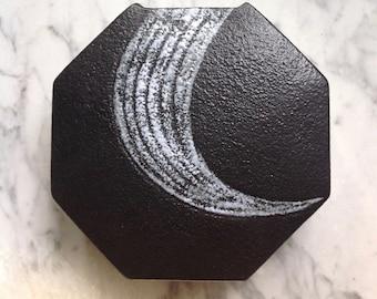 Vintage Japanese Zen Octogonal Geometric Matte Black Vase Art Pottery