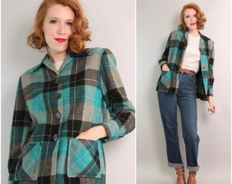 1950's 49er style Jacket / 50s Fauxtyniner Plaid Wool Jacket / Small