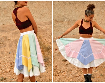 Vintage Western Square Dance Skirt Pastel Gingham Full Circle Ruffle Lace Skirt