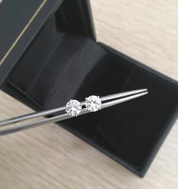 White Sapphire Stud Earrings 14k White Gold 5mm Each