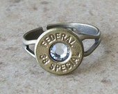 38 Special Federal Bullet Ring, Antique Brass Adjustable Ring Size 6 to 9 - 452