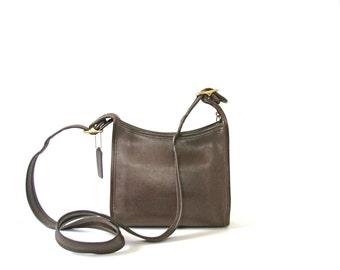 Vintage 90's brown Coach crossbody bag, Coach purse, Coach bag, top zip, leather purse