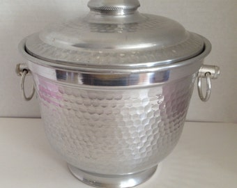 Ice Bucket Vintage Aluminum Made in Italy Lightweight with Handles