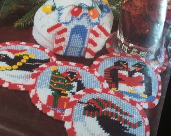 Bucilla Plastic Canvas Kit Holiday Igloo & Penguins Coasters in Original Package Colorful DIY Gift Winter Craft Kit