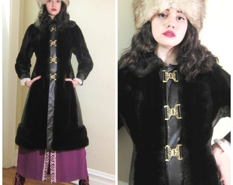 Vintage 1970s Faux Fur and Brown Leather Coat / 70s Boho Coat with Ornate Brass Buckles / Small