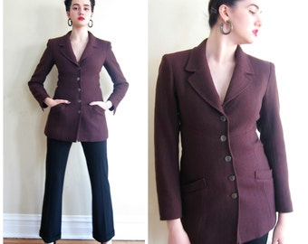 Vintage 1990s Chanel Blazer in Eggplant Purple / 90s Chanel Wool Fitted Jacket / Small