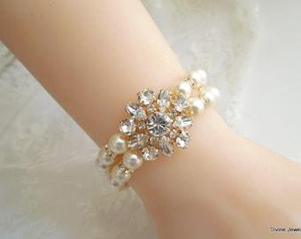 Pearl Bracelet Bridal Pearl and rhinestone Bracelet Gold Bracelet Statement bridal bracelet Wedding Pearl Bracelet Swarovski pearl SAVANNAH