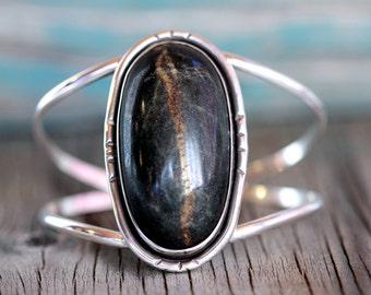Deep Green Yuba River Rock Cuff Bracelet - Sterling Silver