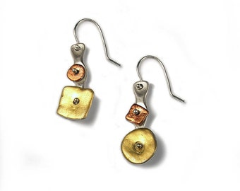 Tri Color Sterling Silver rotating Geometric Earrings