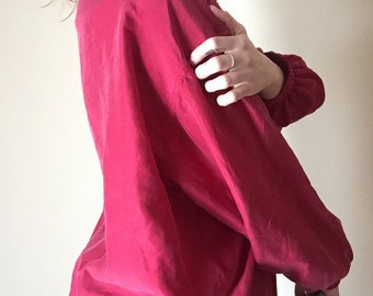 silk magenta bomber jacket 80s vintage womens windbreaker jacket unisex with gold zipper and detail embellishments hipster kitsch medium M L