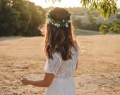 wildflower flower crown // wedding flower crown / baby's breath headpiece / gypsophila spring flower crown / bridal flower crown /