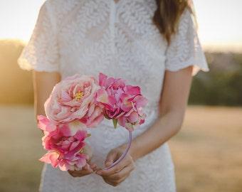 pink statement wedding flower crown // flower crown fascinator, spring racing flower crown, statement floral headpiece headband, engagement