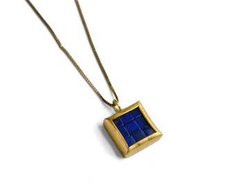 Mosaic Pendant - 22K & 18K Gold Lapis Lazuli Pendant - Minimalist Necklace - Mosaic Necklace - Tiny Square Pendant - Lapis Lazuli Pendant