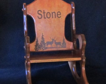 Wooden Kids Rocking Chair  Personalized  Woodlands Theme  Special Walnut  Finish