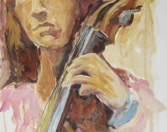 A tall red head cellist, an original oil painting on canvas
