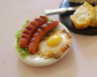 Dollshouse Food ,egg and wurstel platter