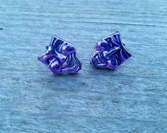 Purple Mardi Gras Happy and Sad Face Masks Bead Earrings - Post or Clip on