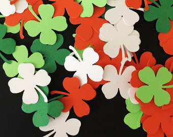 100 Pieces - Lucky Shamrocks with Four Leaf Clover Hand Punched Confetti - Perfect for Weddings, Showers and Anniversaries