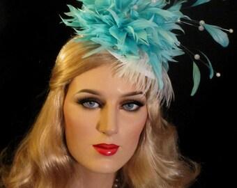 LADY ASCOT Aqua & Pearls Kentucky Derby Fascinator Hat, White And Aqua Feather Cocktail Hat, Tilt Derby Fascinator, Aqua Tea Party Headpiece