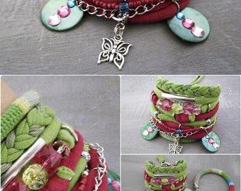 Green Fuchsia Bohemian Bracelet, Lime Green Bold Boho Bracelet Set Hippie Jewelry Butterfly Charm Gypsy Bracelet