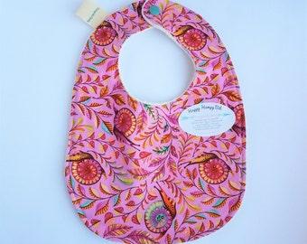 Clearance sale, Happy Hempy, organic cotton fleece backed baby bib, super absorbent slow ride snails on pink