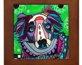 Australian Shepherd dog Mexican Folk Art Ceramic Framed Tile by Heather Galler - Ready To Hang Tile Frame Gift