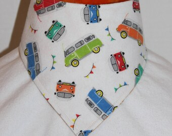 Reversible VW Van / Tie Dye Flannel Bandana Bib