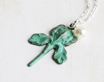 Green Patina Iris Flower Pendant Necklace on Silver Plated Chain, Bridesmaid Jewelry Gift
