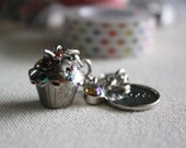 cupcake charm, sweet charm, planner charm, midori charm, dangle charm, beaded charm, purse charm