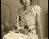 Beautiful Young Woman in Wonderful ART DECO ROARING 20s Dress and Hairstyle Photo Circa 1920s