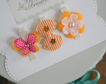 Toddler Hair Clips - Butterfly Hair Clip - Fabric Flower Hair Clip - Hair Clip - Young Girls Hair Clips