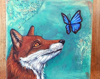 RED FOX Mixed Media Paintings Butterfly Original Art Totem Animals Spirit Guides Woodland Creatures Wildlife Artwork Lotus and Nightshade