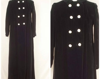 floor length Long Black Velvet maxi coat with pockets 50s 60s Vintage double breasted rhinestone buttons opera coat duster