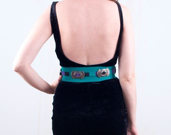 Southwestern Concho Belt Turquoise 80's Silver Leather Hipster High Waist Belt / Small
