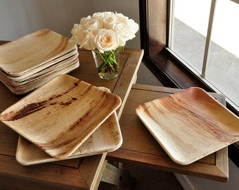 "Dinner Plates.  Ready in 2-3 Business Days.  Disposable 10"" Palm Leaf Plates.  Set of 10.  Modern Square Party Plates."
