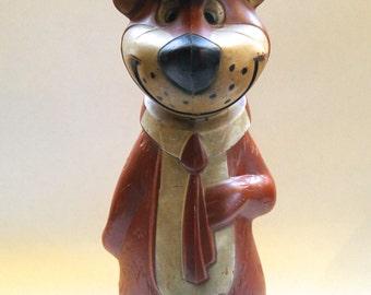 Vintage 1960's Yogi Bear Hanna Barbera Plastic Piggy Bank! Complete!