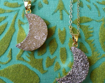 Champagne Moon // Druzy Quartz Crescent Moon Necklace on Gold Plated Chain, Silver Druzy Geode Crystal Boho Bohemian Gypsy Deco Moonchild