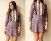 1970's Vintage Floral Print Victoriana Style Bohemian Mini Dress Size XS