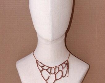 Copper Woven Choker, Adjustable Bib Necklace Chocker, Hand-crocheted Draped Pendant, Copper red chain unique piece