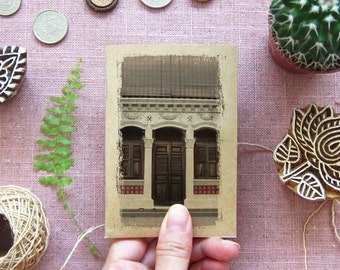 Rustic Notebook 21. Mini Travel Pocket Size - Rustic Brown Windows, Singapore - Inspirations in your Pocket -