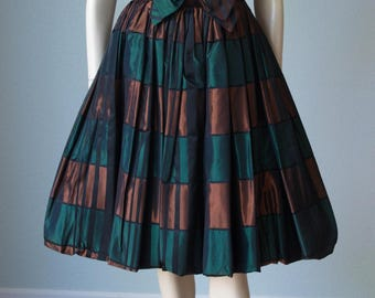 Adorable 1950s Full Skirt Occasion Dress / Shantung Taffeta Plaid Skirt with Velveteen Bodice / Brown and Green Colors / Small / Nicely Made