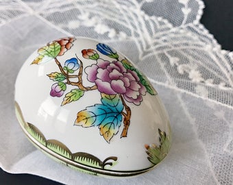 Vintage Herend Porcelain Egg Box Queen Victoria Trinket Box Easter Decor