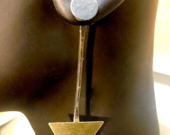 Brass and Blackened Silver Geometric Linear Ear Jacket