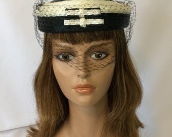 Vintage Pillbox Hat White and Black Straw with Netting 1950's Gus Mayer